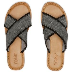 TOMS Navy Coupe Denim Women's Viv Sandals NEW NIB
